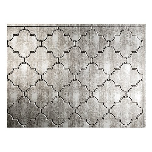 "Fasade Easy Installation Monaco Crosshatch Silver Backsplash Panel for Kitchen and Bathrooms (18"" x 24"" Panel)"