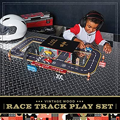 FAO Schwarz Vintage Wood Race Track Play Set, Custom Raceway with Wooden Racers and Accessories, Includes Built-In Carry Case Speedway Garage, 28 Fun Pieces, Classic Toy for Boys and Girls Ages 3+: Toys & Games