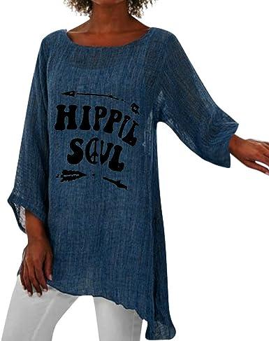 Blusa de manga larga para mujer, estilo hippie, con cuello en O, holgada, holgada, anomalía, dobladillo anomalía: Amazon.es: Ropa y accesorios