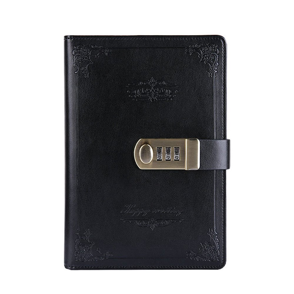 Digital Password Notebook Retro Privacy Journals Combination Lock diary Leather Binder Journal Locking Journal Diary (Black)