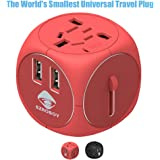 SZROBOY Travel Adapter,Universal Travel Adapter,2 USB Small Travel Addapter Plug with 2.5A High Speed for Your International Business Travel of 200 Countries Like US/EU/UK/ DE/FR/IT/AU/JP(Chinese Red)