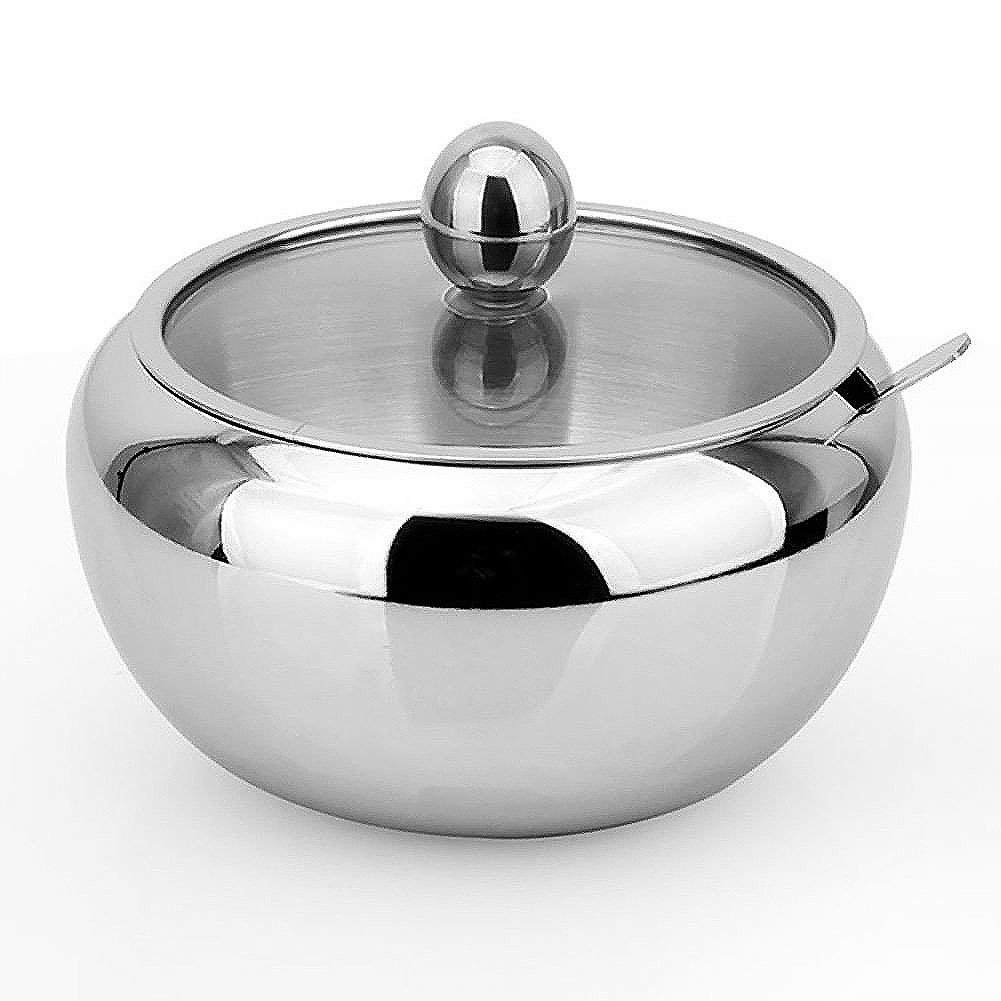 Vencer Stainless Steel Sugar Bowl with Clear Glass Lid - for better recognition, and Spoon for Home and Kitchen, Drum Shape, 15 Ounces(460 Milliliter), VFO-007