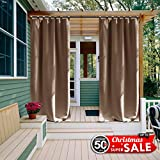 gazebo curtains amazon Outdoor Curtain Panel for Patio - NICETOWN Tab Top Thermal Insulated Blackout Outdoor Curtain / Drape for Patio / Front Porch (52 Inch Wide by 95 Inch Long, Tan-Khaki)