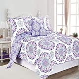 Teal and Purple Comforter Sets O3 DESIGN STUDIO QLTSETWDEC04-PPL Design Studio Vivian 4pc Cotton Quilt Set Full, Queen, Purple