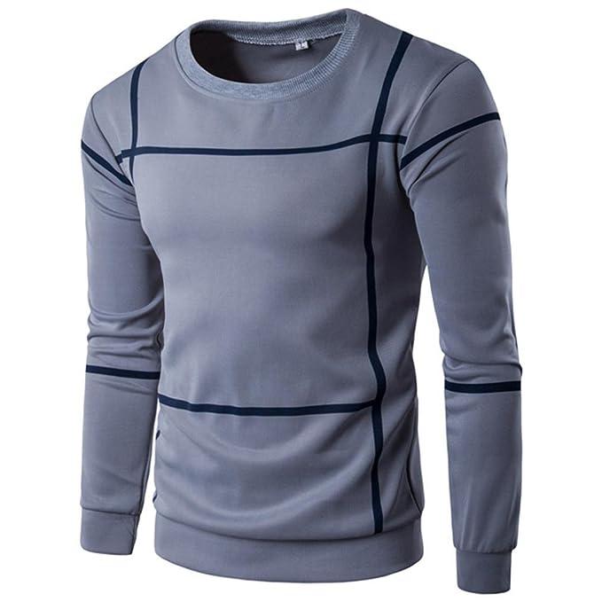 ♚Btruely Herren Moda Sudaderas sin Capucha de Hombre Camisa Casual Tops Camiseta de Otoño Blusa de Manga Larga a Rayas Jersey suéter Pullover de Deport: ...