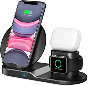Wireless Charger, [2020 Latest] QI-EU 3 in 1 Wireless Charging Station with iWatch Stand for iWatch, Qi Fast Charger Stand for iPhone 12/SE/11/11 Pro Max/XR/XS Max/XS/X/8/8P, Airpods Pro/2