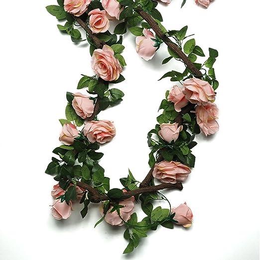 Plantas Artificiales (2pcs X 220cm) Artificial Garland Plants Ivy Vine Leaves Decor Seda Verde Paño Follaje Home Garden Fence Wedding Party Ventana Escalera Al Aire Libre (Color : Pink-2pcs): Amazon.es: Hogar