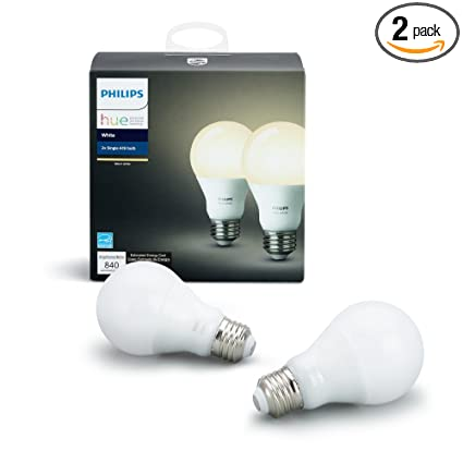 philips hue white a19 2 pack 60w equivalent dimmable led smart bulb