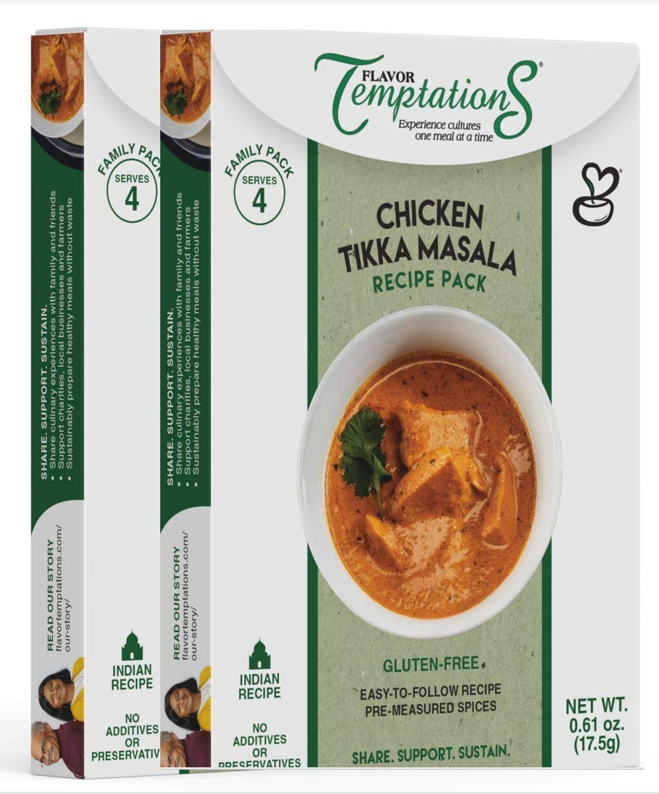 CHICKEN TIKKA MASALA INDIAN FOOD SPICES by Flavor Temptations. Home Cook CURRY Dishes with Beginner Seasoning Set. Gluten free, Salt free. 2 Packs (Total 8 Servings)