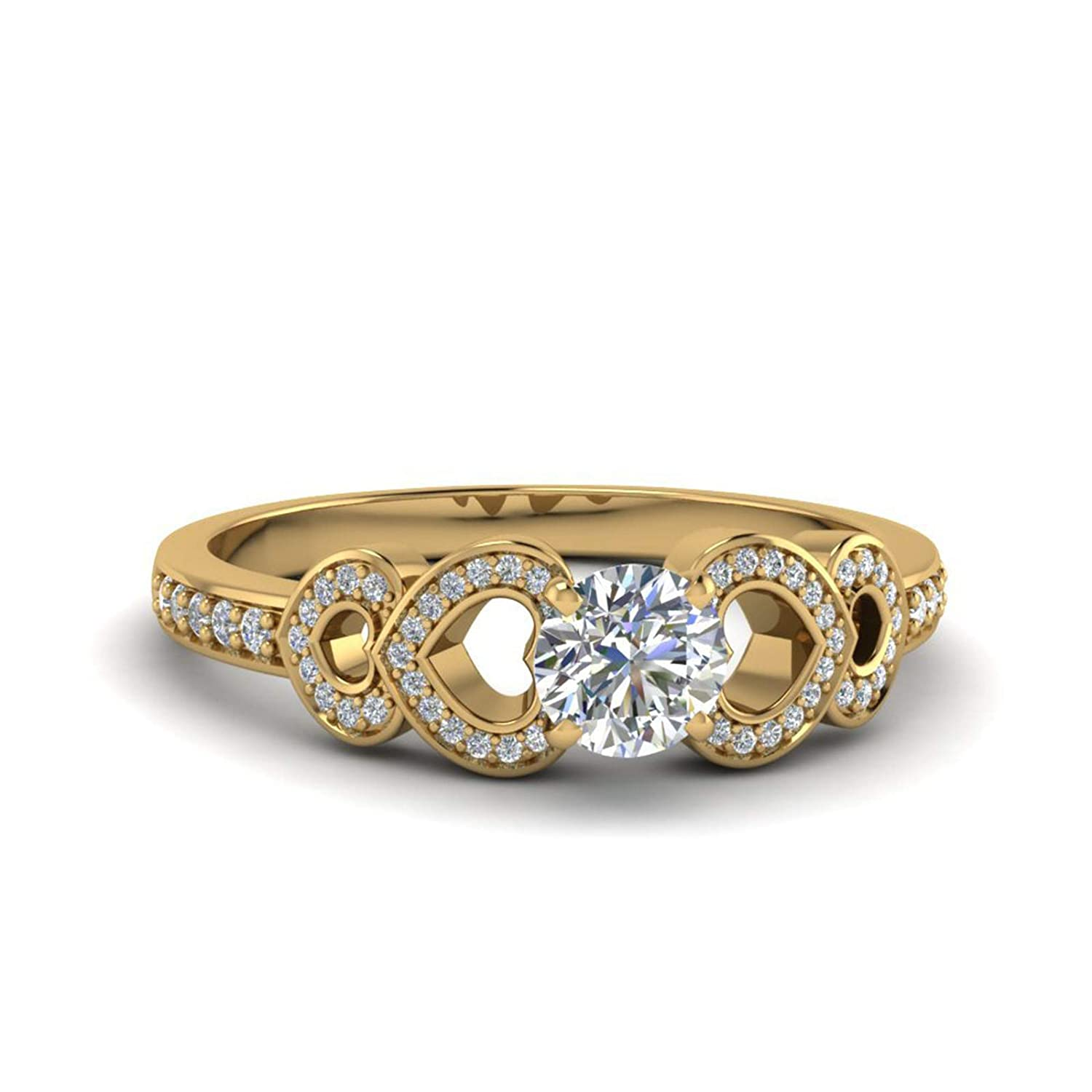 Engagement Wedding Ring 14K Yellow Gold Fn Alloy /& Simulated Diamond Studded Jewellery