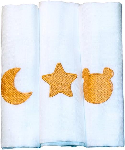 Pack de 3 Gasas Muselinas Bordada para Bebé, 100% algodón - Naranja: Amazon.es: Hogar
