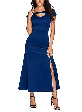 dbdc149e6f0 Grace s Secret Women s Cold Shoulder Short Sleeve Front Slit Flare ...