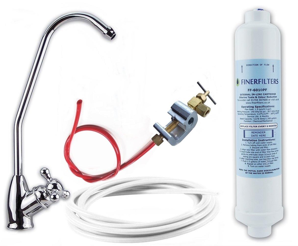 Finerfilters Système de filtration de l'eau, Profitez de cristal clair, délicieux et l'eau de parfum sur 24/7de robinet avec Deluxe Bobble Pied robinet