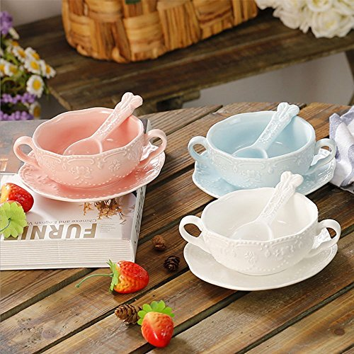 NDHT Elegant Cute Breakfast Cup Dessert Bowls Soup Mug with Saucer and Spoon,300ml,White&Blue&Pink,Set of 3