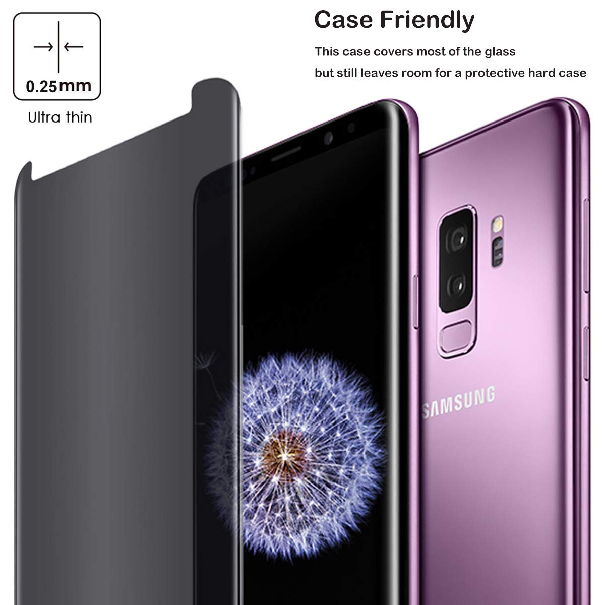 Compatible for Samsung Galaxy S9 Plus S9+ ((Not for S9) Tempered Glass Screen Protector Privacy Anti-Spy Case Friendly Film, Moresky 3D Curved Anti-Scratch Anti-Bubble Guard (2 pcs) by Moresky (Image #5)