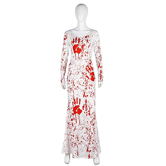 Amazon.com: FENICAL Halloween Party Ladies Dress Blood O-Neck Horrific Long Sleeve Dress Women Party Costume Size S/M (White): Clothing