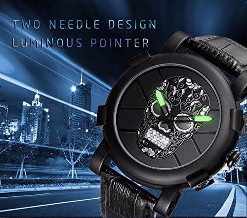 SKONE Herren Armbanduhr Totenkopf Pirat schwarz Diamant 3D