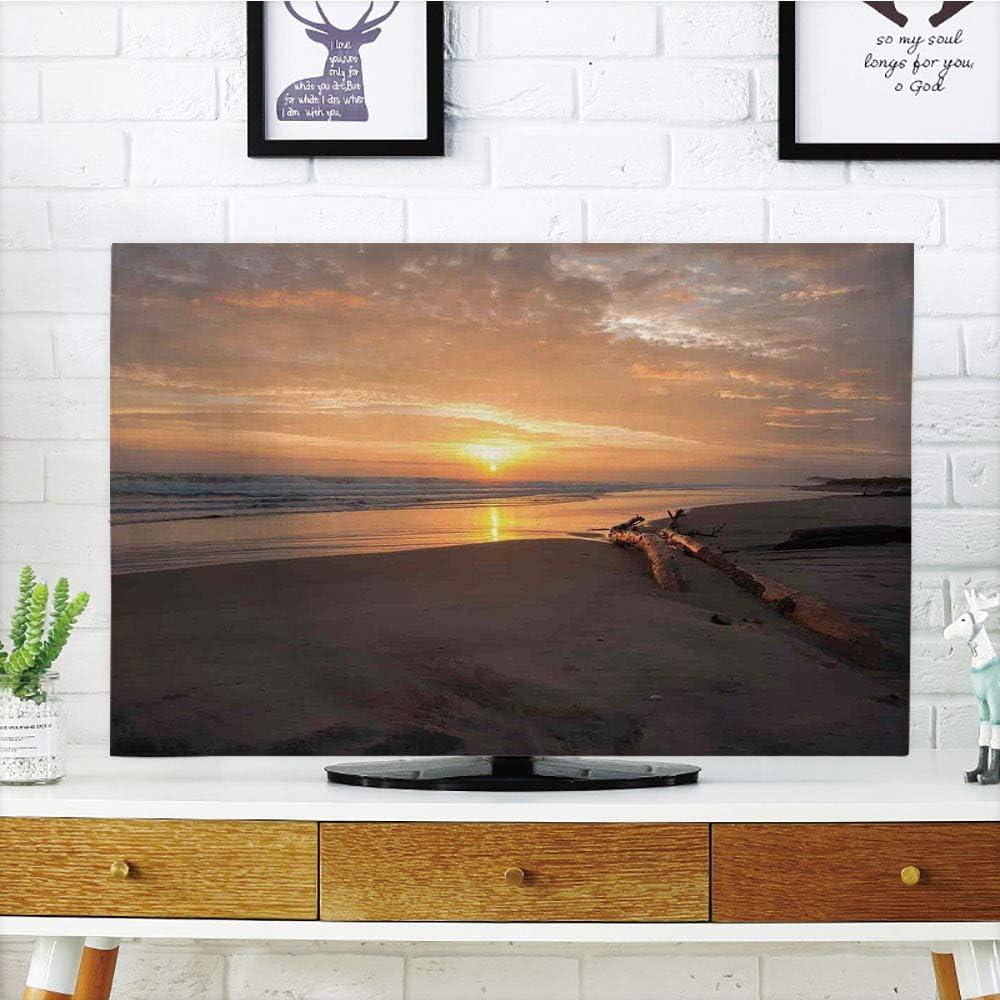 iPrint - Cubierta antipolvo para televisor LCD, diseño de bosque y madera de Dibujo en la Costa con reflejo de las montañas en el lago de la imagen digital, madera de roble,