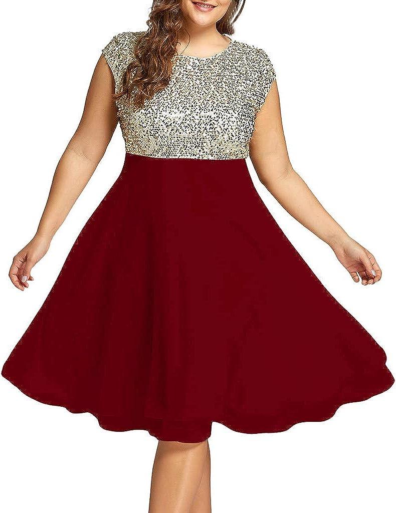 Plain Round Neck Sleeveless Sequined Summer A-Line Flare Dress XL-5XL FEDULK Plus Size Dress for Women