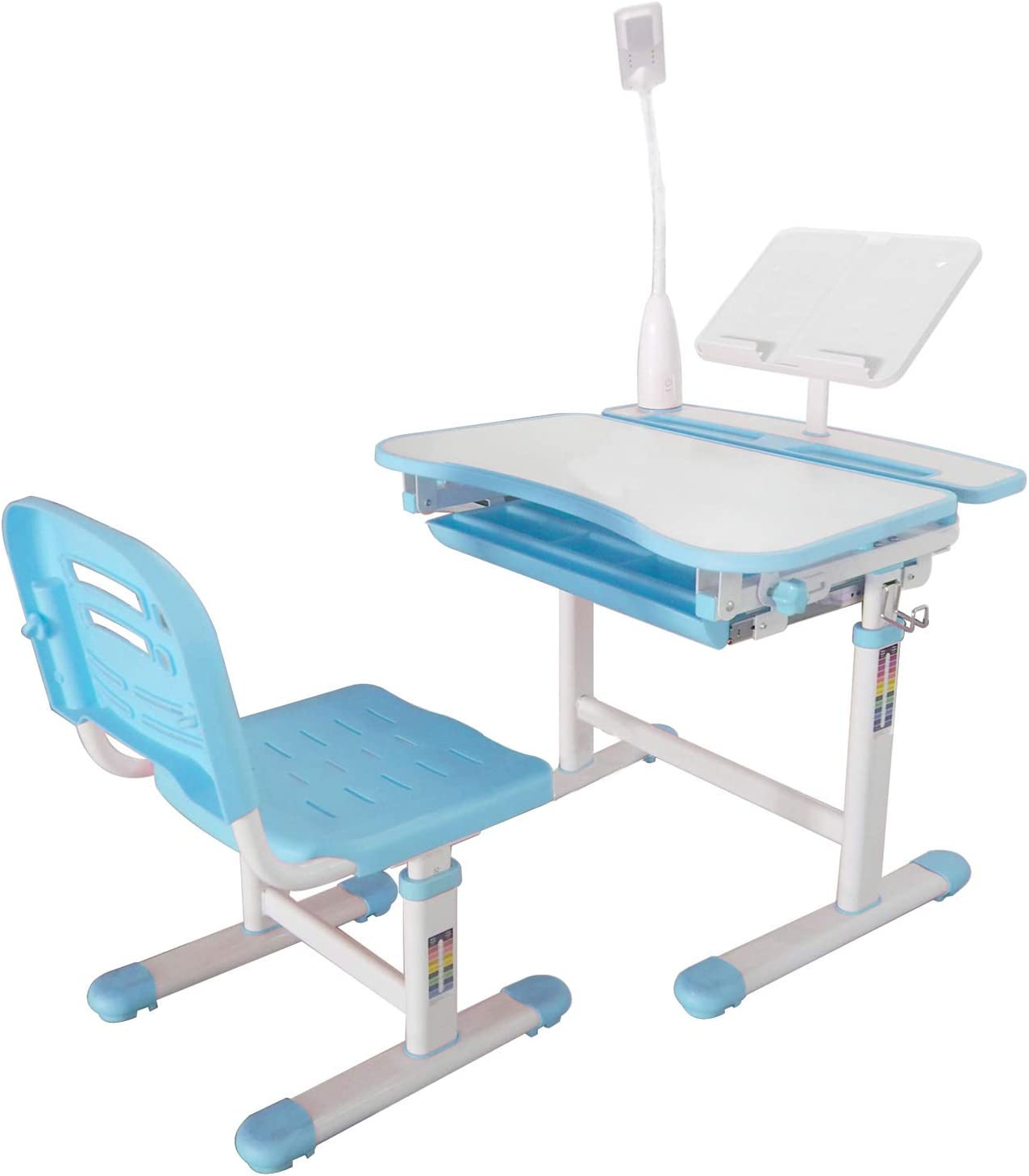 Ubbie Kids Desk and Chair Set,Height Adjustable Children Study Desk with Tilt Desktop & Metal Hook & LED Light & Bookstand and Storage Drawer for Boys Girls Blue