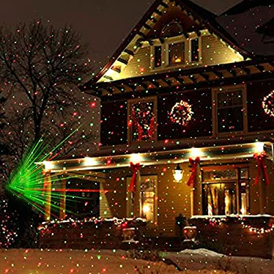 AU plug : Trecaan Christmas Laser Projector Lamp Green&Red LED Stage Light Outdoor Landscape Lawn Garden Light