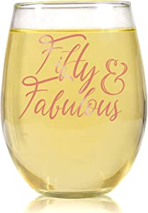 50th Birthday Stemless Wine Glass for Women - 50 & Fabulous- 50 Year Old Wine Glass Birthday Gift- Rose Gold Print Perfect for Women, Mom, Friend, Sister Turning Fifty - 17 oz