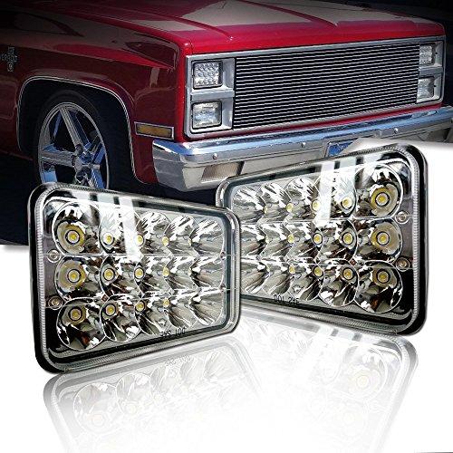 Quakeworld 2Pcs 4x6 LED Headlights Rectangular Sealed Beam Replacement Headlights H4651 H4656 H4666 LED Headlights for Peterbilt Kenworth Freightinger Ford Probe Chevrolet Oldsmobile Cutlass