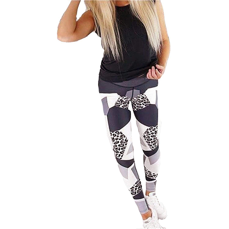 Leggings pour Femmes Imprimé Léopard pour La Mode Pantalon Stretch Basic  Skinny Workout Fitness Running Pantalon De Sport Pantalon De Sport Vetement 35fb0644a87