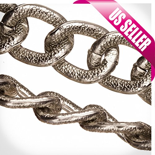 Aluminum Chain, Rhodium-Finished, Reptile Skin Textured Oval Links, 4mm Wire 22x18mm Sold per pkg of 5Ft