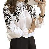 (ノーブランド品) シャツ 刺繍 刺繍シャツ レディース 長袖 シャツブラウス ダンガリーシャツ 白シャツ 白 長袖シャツ シンプル トップス