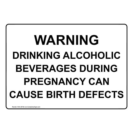 10x7 inch, Warning Pregnancy and Alcohol Do Not Mix Can Cause Birth Defect Sign
