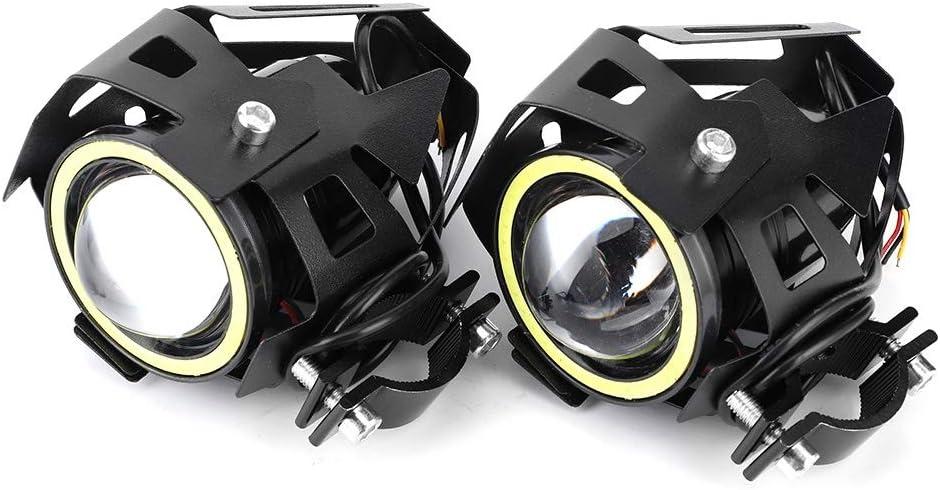 con 3 Modos de operaci/ón incorporados XINMYD Luz Blanca 2PCS 12V 125W 3000lm U7 LED Angel Eyes Spotlight IP68 Faro de Motocicleta con Interruptor