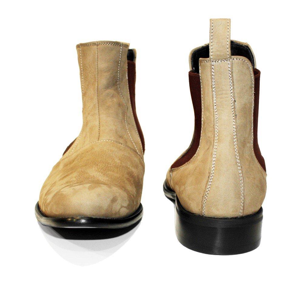 Modello Lethero - Cuero Italiano Hecho A Mano Hombre Piel Marrón Chelsea Botas Botines - Cuero Ante - Ponerse: Amazon.es: Zapatos y complementos