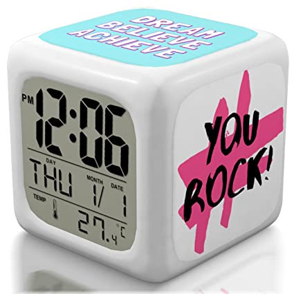 Alarm Clock for Teen and Kids Bedroom, Girls or Boys, Heavy Sleepers. Cute and Cool Bedside Digital Display Clocks for Travel and Kid Bedrooms (Brand ...