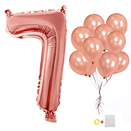 Happy Birthday Helium Number 7 Balloons 40 Inch Rose Gold Foil Mylar Numbers 0 9 Party Latex 12 Pack Of 10 For 7th