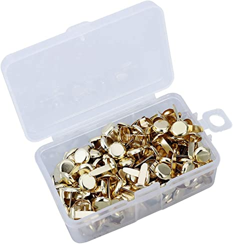 Mini Brads 200Pcs Paper Fasteners Gold Silver Round Metal Pastel Craft Brads with Hole Punch Small Paper Metal Brads Scrapbooking Decorative Brads for School Office Crafts Making DIY Project