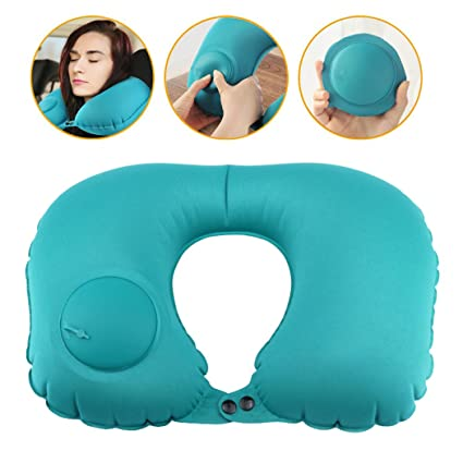 Amazon.com: Cojín de cuello, almohada de viaje inflable ...
