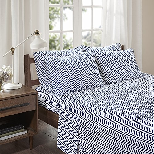 Comfort Spaces - Ultra Soft Chevron Cotton Blend Jersey Knit Sheet Set - 6 Piece - Navy - King Size - Includes 1 Fitted Sheet, 1 Flat Sheet and 4 Pillow Cases (Blue Sheets Chevron)