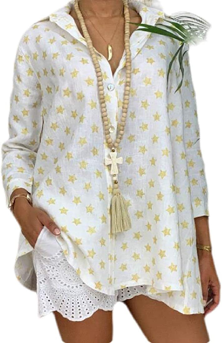 Rrive Womens T-Shirts Loose Fit Star Printing Long Sleeve Blouse T-Shirt Top