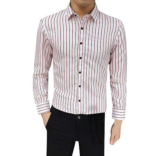 50c79c7656 Men's Pluse Size Striped Shirt Lapel Business Top Slim Long Sleeve ...