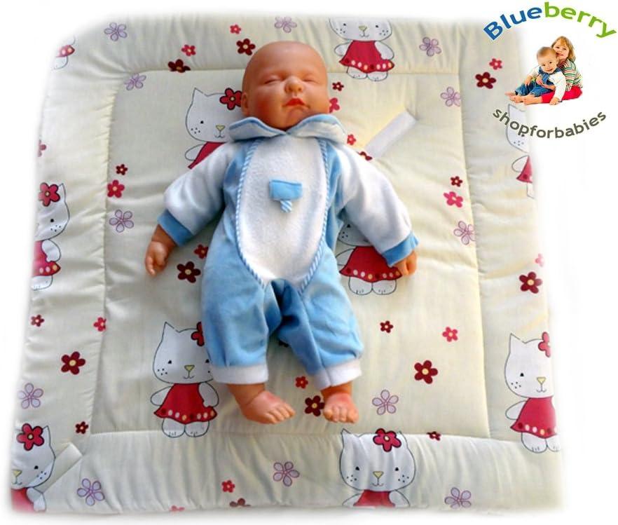 78 x 78 cm 0-3m Cotone 0-3m regalo presente BlueberryShop TAPPETTINO Coperta Sacco a Pelo per Neonati Crema Gattino