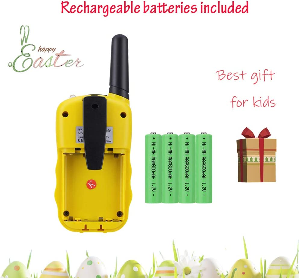 Sigdio Kids Walkie Talkies Rechargeable Walky Talky 22CH FRS 2 Way Radio Kids Toy with Multi-Charger Rechargeable Batteries VOX and Torch Yellow, 8 rechargeable batteries
