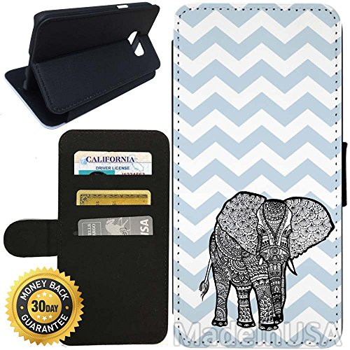 Flip Wallet Case for Galaxy S7 (Fashion Blue Zigzag Print Cute Elephant) with Adjustable Stand and 3 Card Holders | Shock Protection | Lightweight | Includes Stylus Pen by Innosub