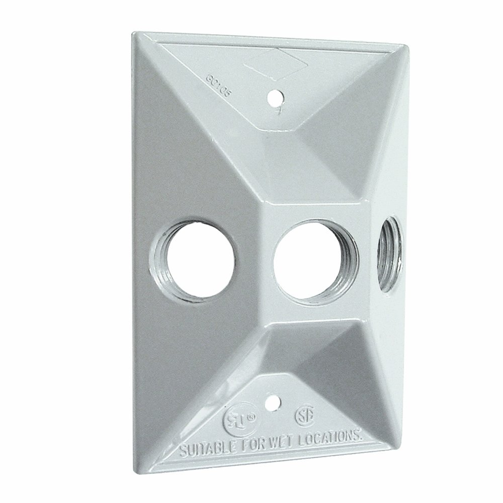 White Hubbell-Bell 5189-1 Three Hole Weatherproof Cover Rectangular Cluster