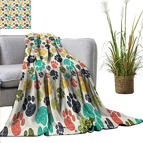 (homehot Dog Lover Super Soft BlanketsCute Hand Drawn Paw Print Doodles Circular Pattern Children Drawing Style Animal Sofa Chair 40