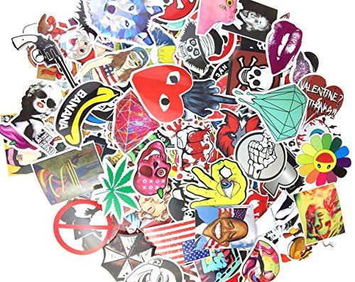 (Pack of 50) Stickers Skateboard Snowboard Vintage Vinyl Sticker Graffiti Laptop Luggage Car Bike Bicycle Decals mix Lot Fashion Cool (50 Decal)