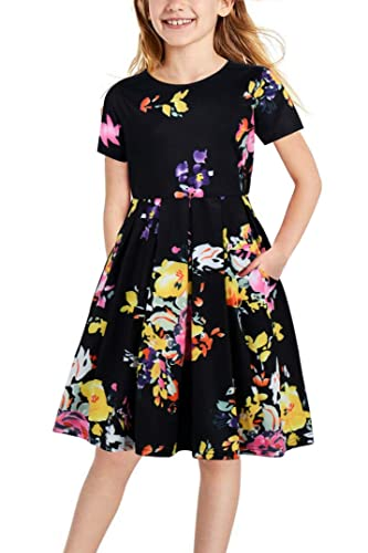 Gorlya Girl's Short Sleeve Floral Print Casual Vintage Pleated Puffy Swing Party Dress with Pockets for Kids 4-12 Years (GOR1008, 6-7Y, Black Print)
