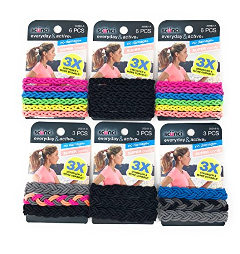 Scunci Everyday & Active Braided No Damage and Super Comfy Hair Elastics Bundle (Assorted Colors) - Small (3 PK x 6 Pcs) and Large (3 PK x 3 Pcs) ()