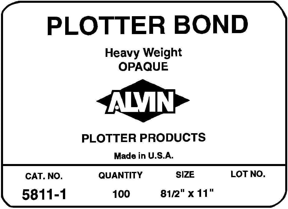 Alvin Heavyweight Opaque Plotter Bond 50 Hojas Pack, color blanco 24