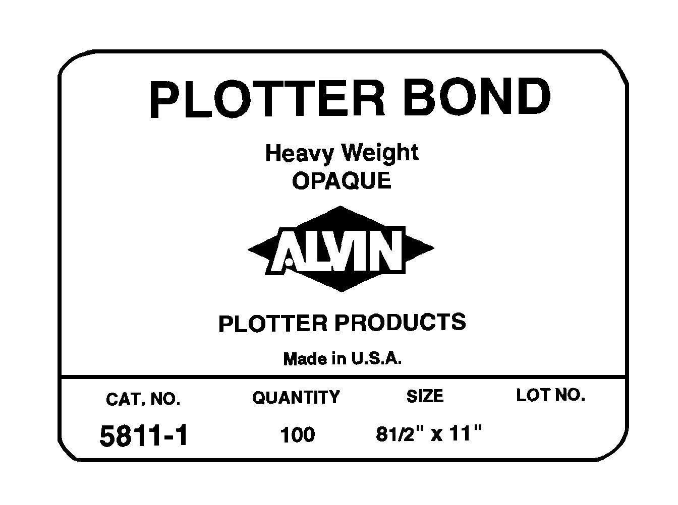 Alvin Heavyweight Opaque Plotter Bond 100-Sheet Pack, 17'' x 22'' (5811-7)